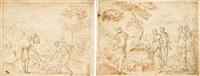 moses hiding the body of the egyptian in the sand by bernard (le petit bernard) salomon