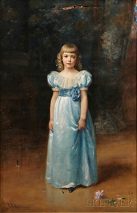 portrait of a standing girl in blue by abraham archibald anderson