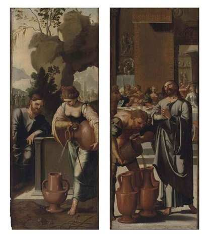 christ and the woman of samaria at the well the marriage at cana 2 works by jan van scorel
