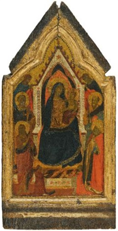 the madonna and child enthroned flanked by saints john the baptist peter paul and zenobius and two angels below them two donors by taddeo gaddi