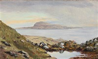 view of tórshavn towards nólsoy, faroe islands by joen waagstein