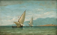 boats in the bosporus by daniel hermann anton melbye