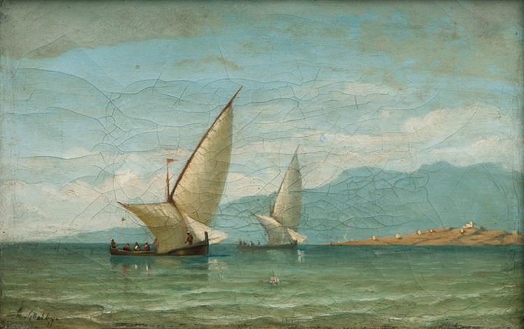 boats in the bosporus by daniel hermann anton melbye