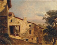 a woman by farm-buildings, an extensive landscape beond by elisabeth fort-siméon