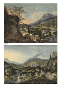 a rhenish river landscape with peasants merrymaking (+ a rhenish river landscape with shipping and figures conversing by a market; 2 works) by robert griffier