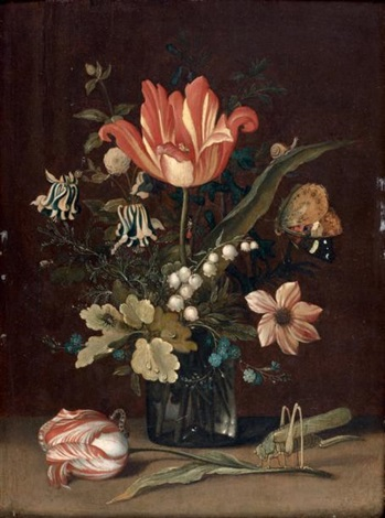 bouquet de fleurs dans un verre à droite une sauterelle un grillon sur une tulipe by balthasar van der ast