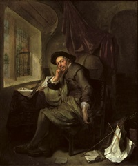 a scholar seated at his writing desk in an interior, books and documents in the foreground by hendrik heerschop
