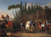 an italianate landscape with a white stallion being trained at a riding school by pieter van bloemen