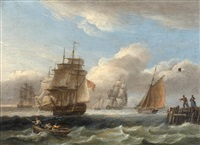 royal naval warship and other shipping off the coast in rough seas (+ a warship in a calm; pair) by thomas luny