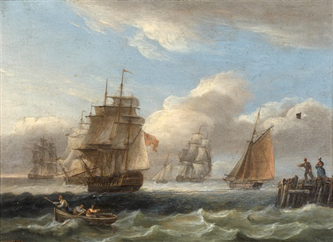 royal naval warship and other shipping off the coast in rough seas a warship in a calm pair by thomas luny