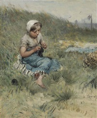 knitting in the dunes by bernardus johannes blommers