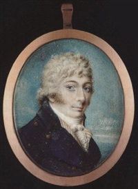 a gentleman with short powdered hair, wearing blue coat with gold buttons, striped white waistcoat, tied stock and frilled cravat by thomas le hardy