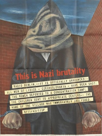 this is nazi brutality and we french workers warn you 2 works by ben shahn