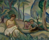 three figures in a summer landscape by bernard gussow
