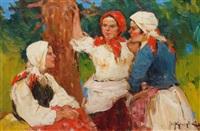 three young women chattering by fotij stepanowitsch krassitzkij