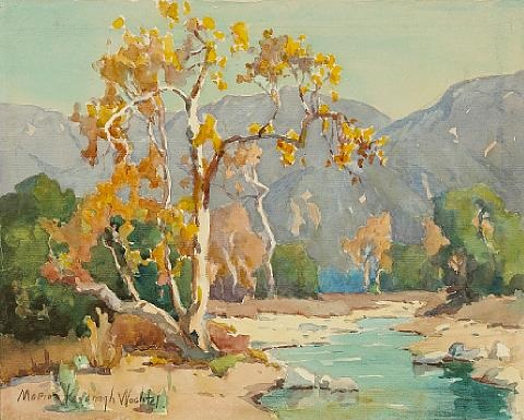 stream by a tree with san gabriel mountains beyond by marion kavanaugh wachtel