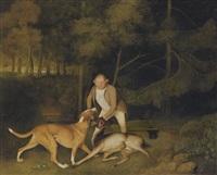 thomas freeman, lord clarendon's gamekeeper, with a dog and a shot doe (collab. w/ george townly stubbs) by george stubbs