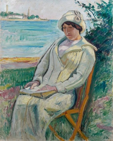 jeune femme lisant au bord de lodet by jean puy