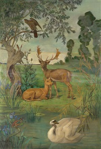 tierische landschaftsidylle by wilhelm steinsky