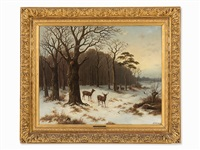 winter forest with deer by hendrik pieter koekkoek