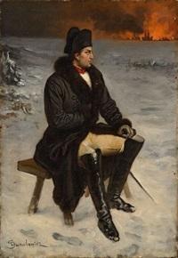 l'empereur napoléon 1er devant le ville de moscou en feu by ladislaus bakalowicz