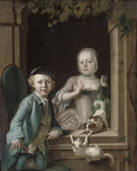 a boy and a girl at a window, with a cat and a dog by cornelis troost