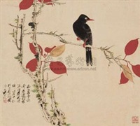 红叶秋禽 (bird and red leaves) by qi yongcheng