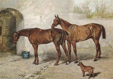 australia barney and doctor in a stableyard by john emms