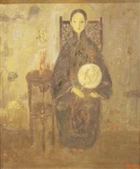 portrait à l'éventail by jia juanli