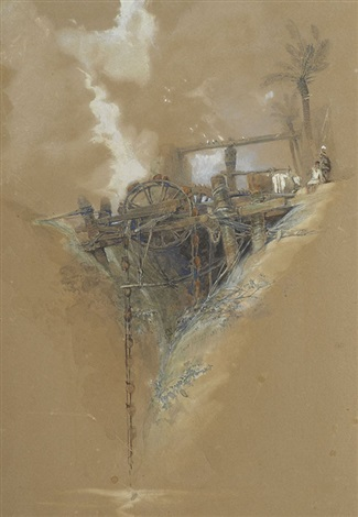 persian water wheel used for irrigation in nubia by david roberts