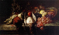 pheasants, woodcock, a tankard and fruit on a table by rene grönland