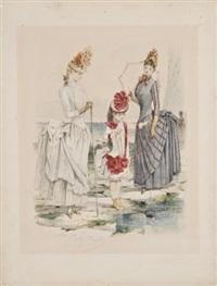 deux élégantes et une jeune fille sur la grève by jules david