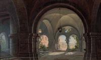 blick durch ein romanisches klostergewölbe by georg pezolt