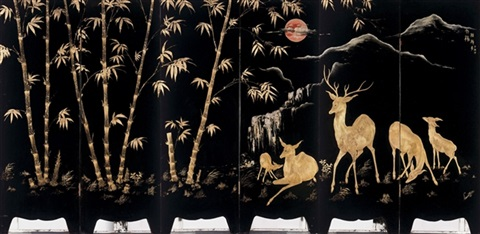 deer and hinds in a bamboo forest by le van hung