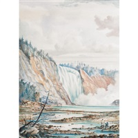 montmorency falls, the artist and several other figures in the foreground by william armstrong