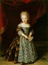 portrait of a young girl wearing an embroidered lace-trimmed dress, holding a fan by louis ferdinand elle the younger