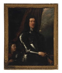 portrait of a gentleman, three-quarter length, in armor, with a page at his side by william dobson