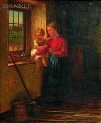interior scene with mother and child by william m. mcewan