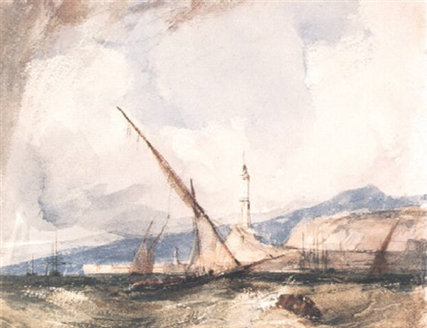 shipping off genoa by richard parkes bonington