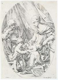 maria mit kind, der heiligen anna und johannesknaben, nach e. sirani by lorenzo loli