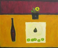 a still life of bottle and fruit on a ledge by william selby