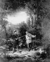 chasseur et son garde dans la forêt by félix cottavoz