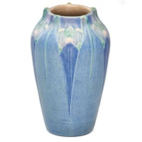 vase with stylized leaves and blossoms by newcomb college pottery