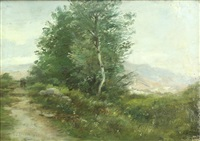 landscape with travelers along the path by theodore clement steele