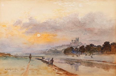 lincoln from the river at sunset by william ewart lockhart