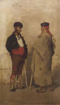 spanish herdsmen conversing by luigi fabron