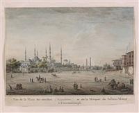 vue de la place at-meïdan (hippodrôme) et de la mosquée de sultan-ahmed à constantinople by jean-baptiste hilaire