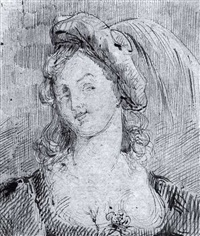 a study of the head of a woman wearing a feathered cap by vincent laurensz van der vinne the elder