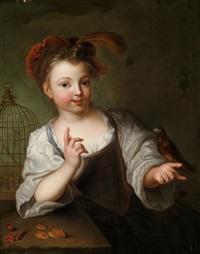 ein kleines mädchen mit einem vogel by alexis grimou