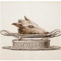 a boar's head on an oval dish by luigi valadier